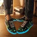 Homens sapatos leves luminoso Fulgor da Noite Do Tenis Sapato Casual 2016 Moda Primavera Plana Adultos Simulação Fluorescência schoenen conheceu licht