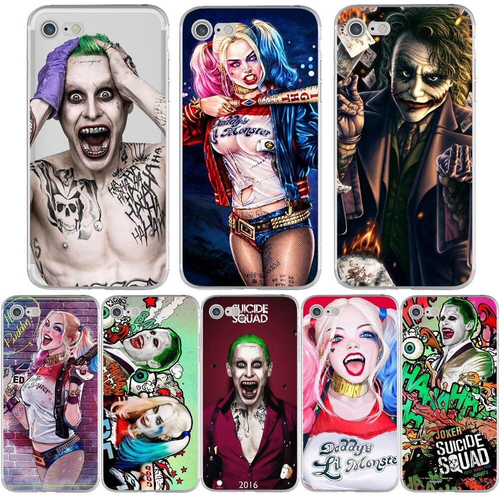 DC Comics Suicide Squad Joker Phone Case for Apple iPhone 6 6S 7 8 PLUS X 10 5 5S SE 6SPLUS Silicone Soft Shell Capinha Fundas