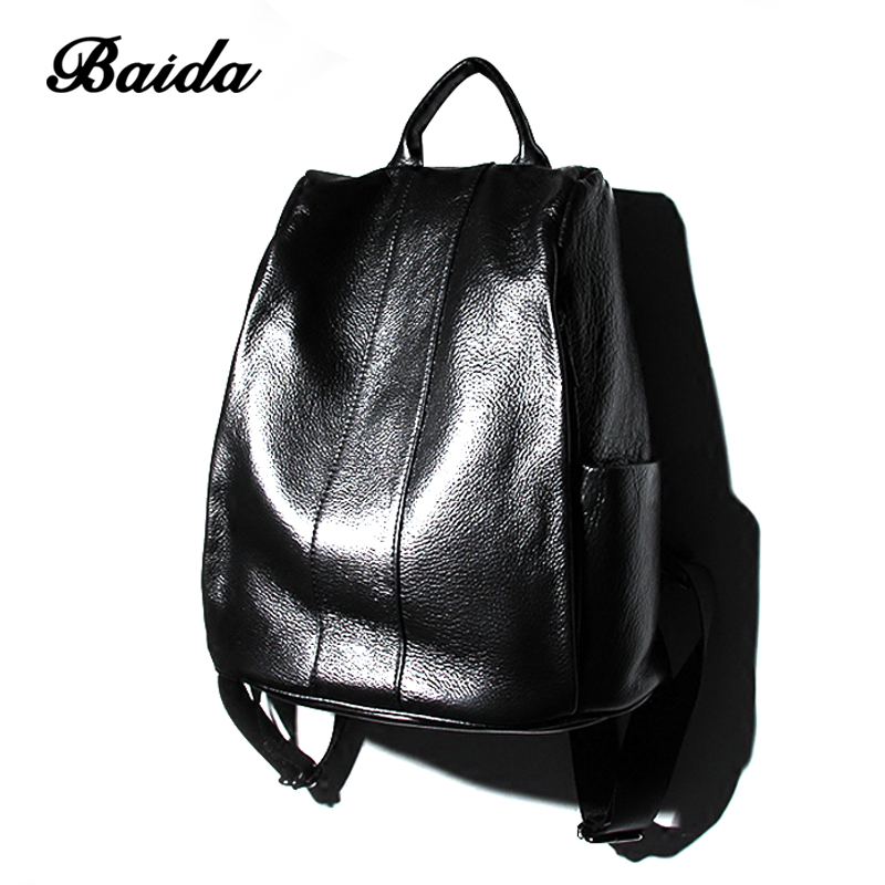 New Fashion Brand Women Genuine Leather Backpack Women's Backpacks for Teenage Girls Ladies Bags with Zippers School Bag Mochila цена