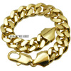 18ct Yellow Gold GF Curb Link Chain Solid Mens Womens Bracelet Bangle B147