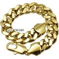 18ct ouro amarelo GF curb chain link sólidos das mulheres dos homens pulseira pulseira B147