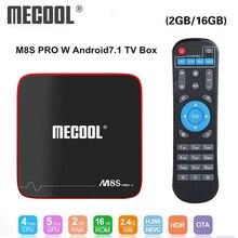 Mecool M8S PRO สมาร์ททีวีกล่อง Android 7.1 Amlogic S905W 1GB 8GB 2GB 16G Media สนับสนุน IP กล่องทีวี 2.4G WiFi PK X96 MINI