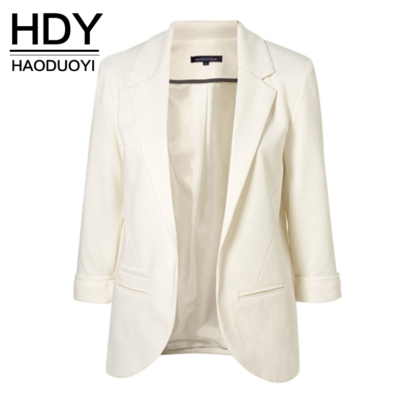 HDY Haoduoyi Solid OL Lapel Blazer 3 4 Sleeve Workwear White Jackets Casual Blue Notched Outwear Overcoat New Arrival in Blazers from Women 39 s Clothing
