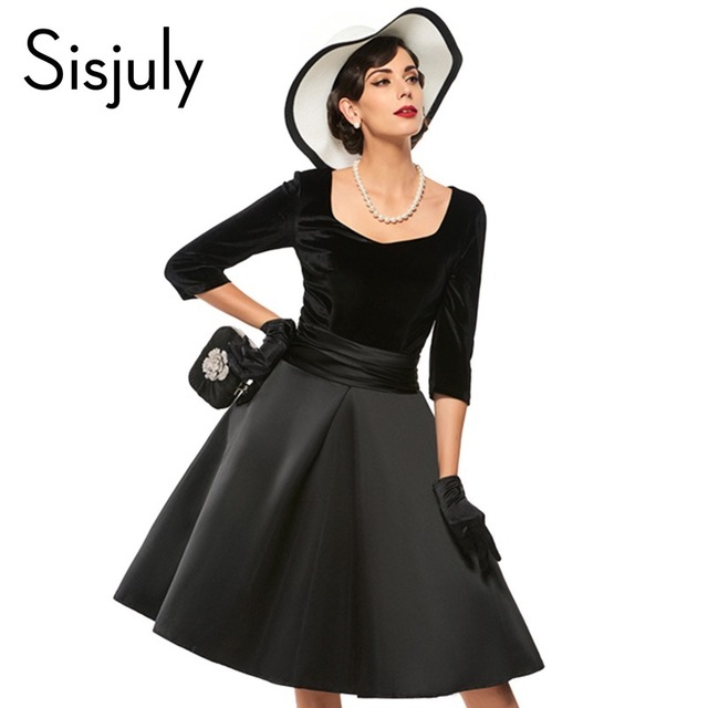 Sisjuly A-Line Party Dresses Black V Neck Women Short Sleeve Slim 1950s  Rockabilly Vintage Dress Retro Style Pin Up Winter Dress a81737253024