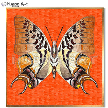 Hand-Painted Abstract Butterfly Specimen Oil Painting on Canvas for Home Decor Green or Orange Color Knife