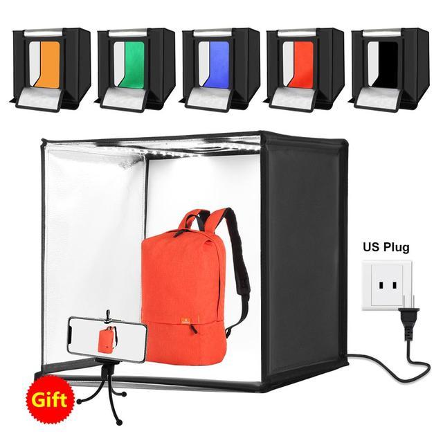 PULUZ 60*60cm 24 inch Portable Photo studio box Photography Softbox 60W White Lighting Studio Shooting Tent Box Kits&6 Backdrops