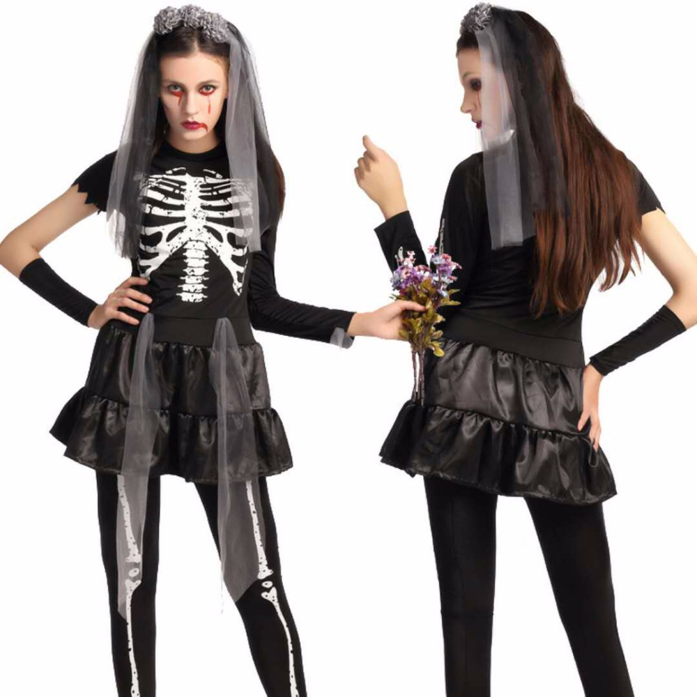 Female adult skeleton Halloween ghost bride dress horror skull role playing black sexy dress skirt masquerade party stage perfor