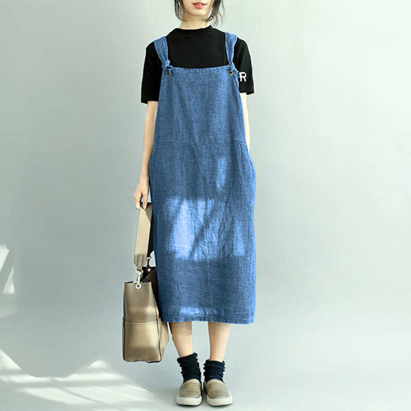 dbc186cd60 ZANZEA Denim Dress 2018 Autumn Women Sleeveless Denim Blue Vestido Women  Beach Dress Long Maxi Vestidos