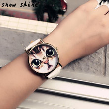 snowshine #10xin  Cat Pattern Leather Band Analog Quartz Vogue Wrist Watch    free shipping