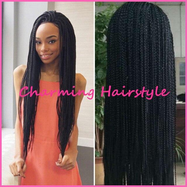 e4b8385c300 Wholesale Fashion Brazilian Hair Box Long Black Braiding Hair Micro  Glueless Braided Lace Front Wigs Full Hand Braided Lace Wigs