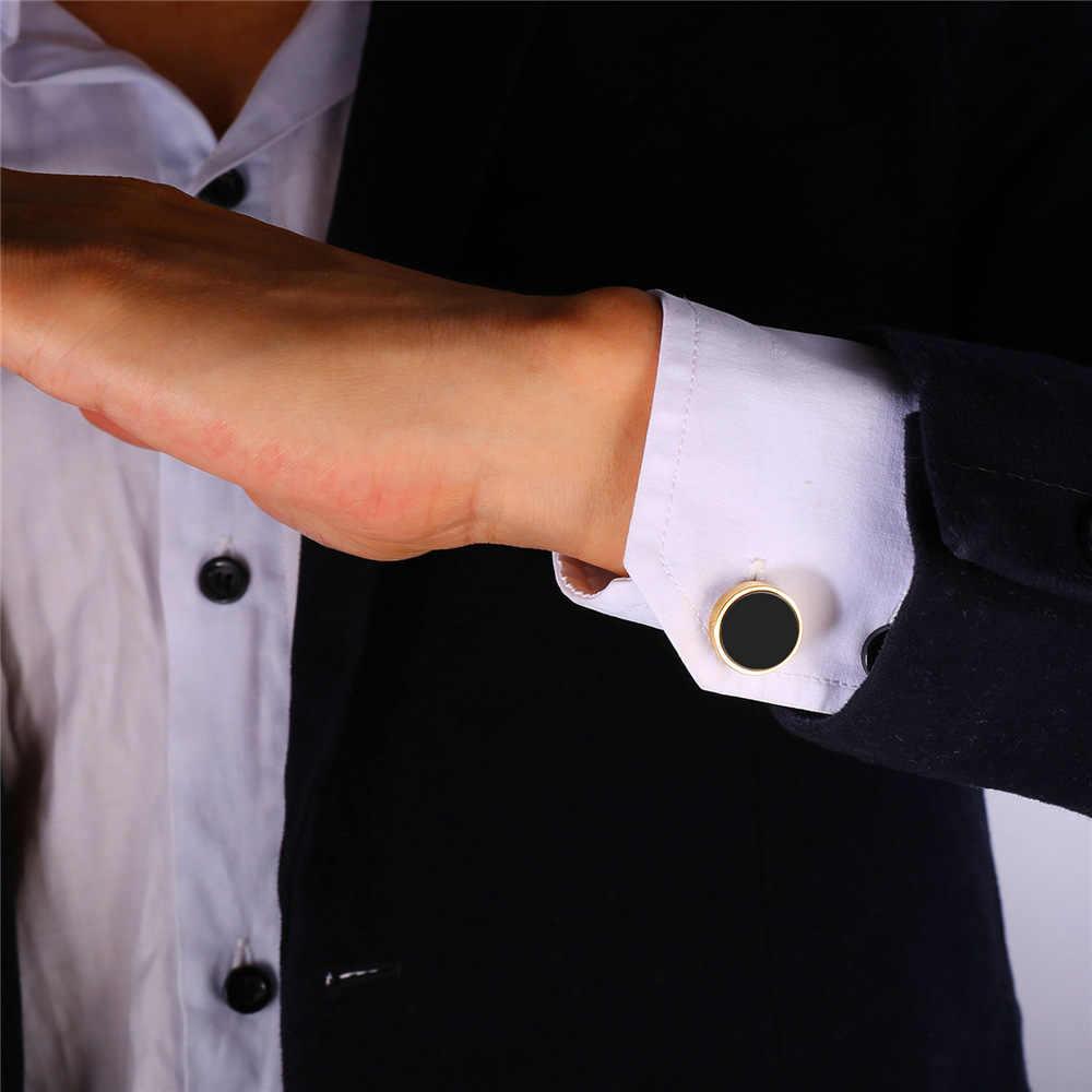 U7 nieuwe collectie zwarte ronde vlakte manchetknopen voor heren emaille sieraden trendy goud kleur mannen pak tie clips & manchetknopen box c018