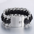 30mm 21.5cm Mens Chain Boys Double Curb Link Silver Tone 316L Stainless Steel Genuine Leather Centipede Bracelet HEAVY LHB334