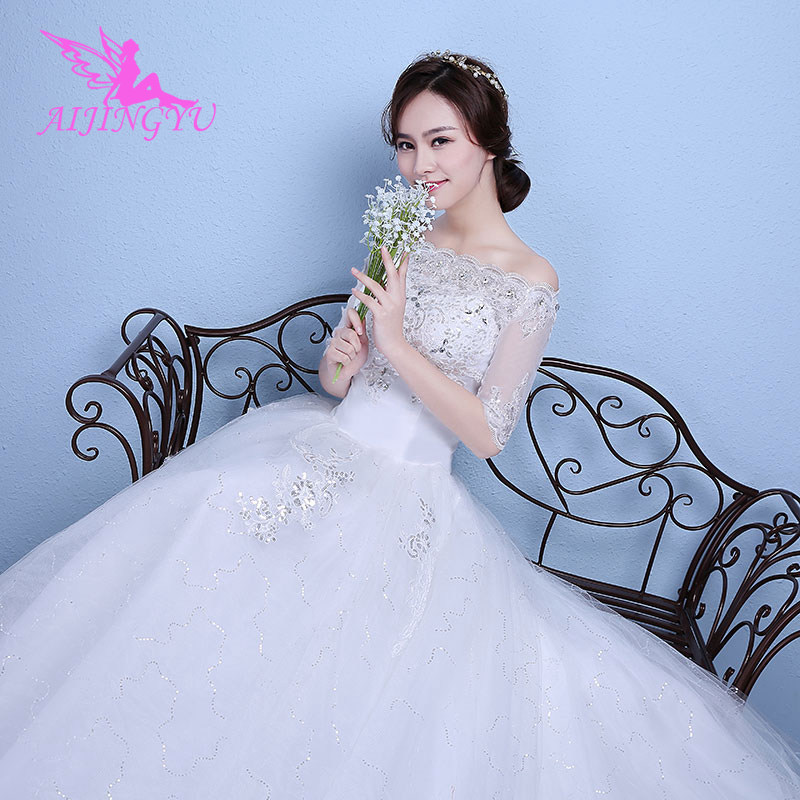 AIJINGYU 2018 ivory free shipping new hot selling cheap ball gown lace up back formal bride dresses wedding dress WK806