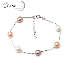 Real Freshwater Pearl Bracelet Silver For Women,wedding Fashion Colorful Natural Charm Jewelry