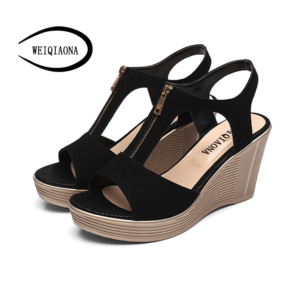 WEIQIAONA 2018 New Summer Fashion Women shoes Sexy Fish Mouth Wedges heels Platform Genuine leather Sandals Front zipper in the summer of 2016 the new wedge heels with fish in square mouth denim fashion sexy female cool shoes nightclubs