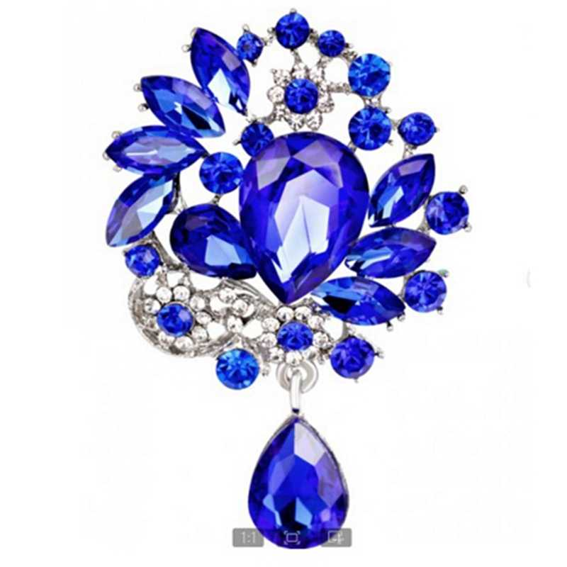 Rinhoo 3 color Big Flower Brooch pins Crystal Brooches For women flower crystal pendant Clothes Decoration Fashion New Year Gift