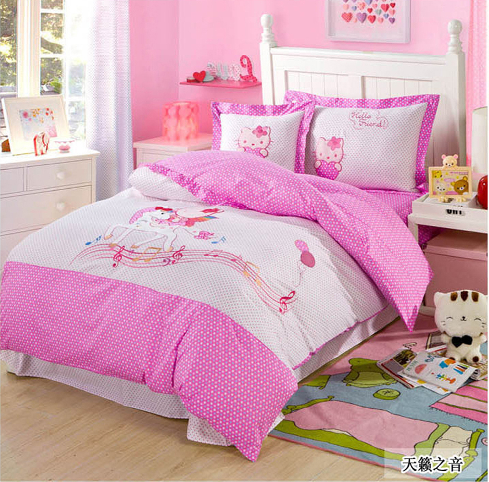 Blue bedroom sets for girls - Pink Green Blue Girl And Boy Children Cartoon Embroidery Kids Cotton 4pcs Bedding Set Include Duvet Cover Bed Sheet Pillowcase