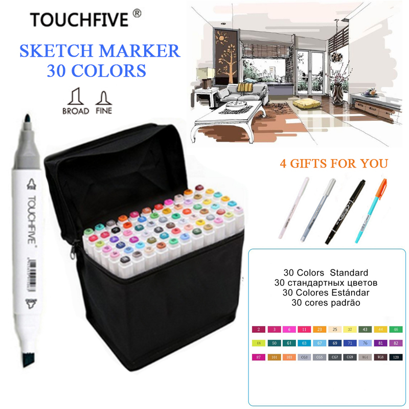 TOUCHFIVE 30/168 Colors Can Choose Any Colors Markers Set Dual Headed Sketch Marker Pen For Drawing Manga Animation Art Supplies 80 colors painting art marker pen alcohol marker pen cartoon graffiti dual headed sketch markers set art supplies black white