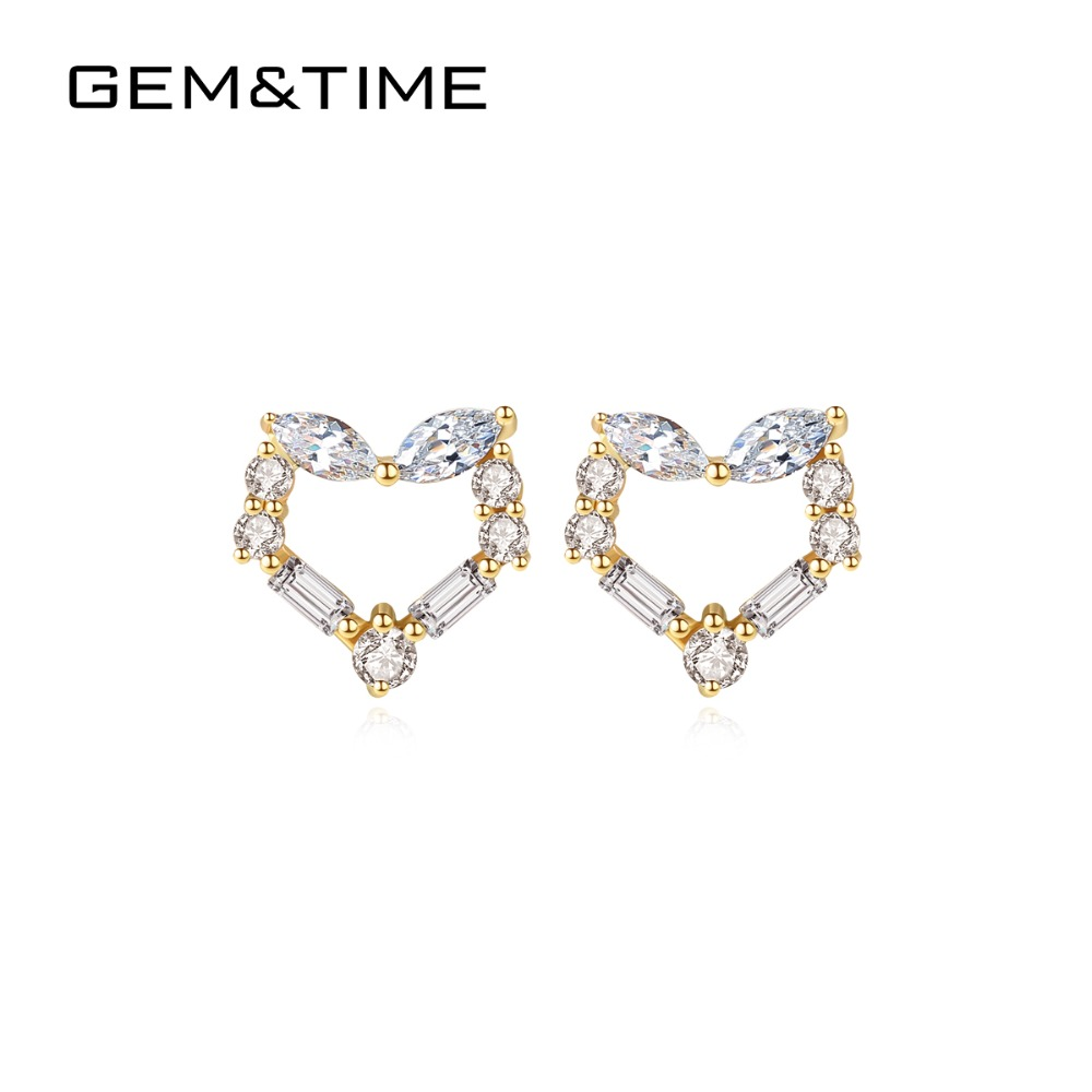 Gem&Time Love Heart Real Solid 14K Gold Stud Earrings for Women Wedding Engagement Fine Jewelry Yellow Gold AU585 Brincos E14116Gem&Time Love Heart Real Solid 14K Gold Stud Earrings for Women Wedding Engagement Fine Jewelry Yellow Gold AU585 Brincos E14116