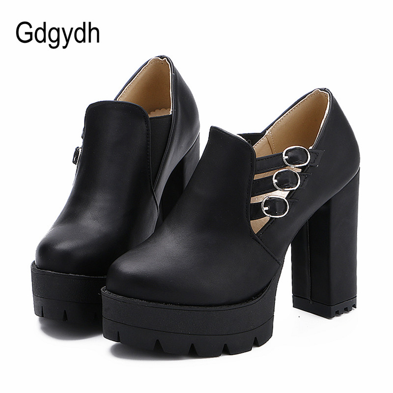 Gdgydh 2017 New Plus Size Women Pumps Round Toe Buckle Female Single Shoes Casual Thick High Heels Platform Russian Ladies Shoes