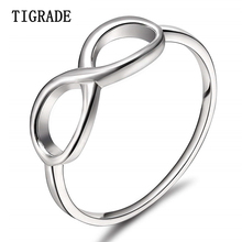 TIGRADE 925 Sterling Silver Infinity Ring Eternity Charms Girl Friend Gift Endless Love Symbol Fashion Rings For Women