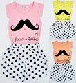 Nova verão meninas define vestuário dos desenhos animados do bigode padrão de manga curta T - shirt + polka dot calças 2 pcs Set meninas roupas casuais Set