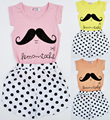 new summer girls clothing sets Cartoon Moustache pattern Short-sleeved T-shirt+polka dot pants 2pcs set Girls Casual Clothes Set
