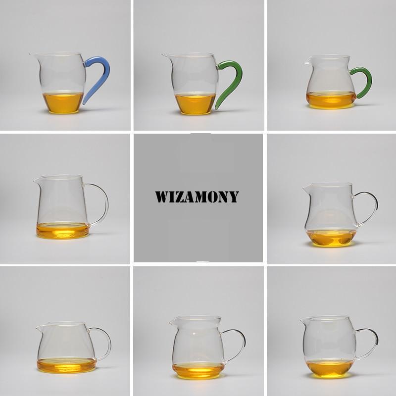WIZAMONY Hot Sale !!!!!!!!!!! te-settepot Värmebeständigt glas te Pitcher rättvisa mugg Cha hai Gongdao Teacup Kapacitet 400ml