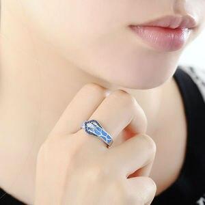Image 4 - Anel de cobra de prata para as mulheres azul pedra azul artesanal esmalte anéis puro 925 prata esterlina moda jóias