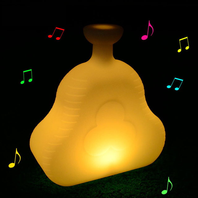 Outdoor waterproof decoration night light usb rechargeable RGB bluetooth speaker table led lamps with 24 Keys Remote Control