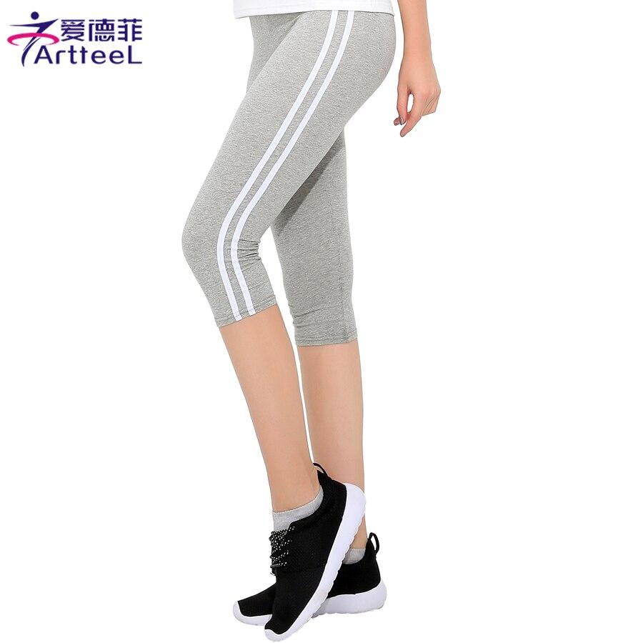 Fashion font b Women b font Trousers Skinny Pants Calf Length Workout Pants Ladies Side Striped