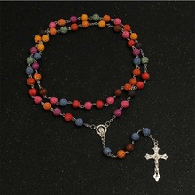 8mm imitation pearl red rose beads Catholic rosary necklace silver cross Lourdes center Rosario religious gift