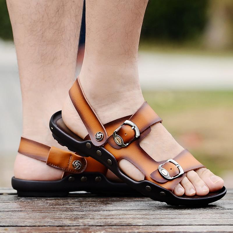 2018 new fashion summer sandals men leather platform sandals flat mens shoes casual transparent shoes for men camping youth shoe