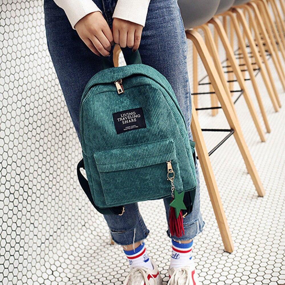 Women's Fashion Canvas Tassel School Bags Travel Backpack Black Bag For Women  Backpack #yl1 #2