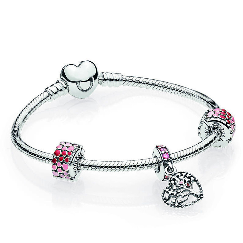 NEW 2018 Valentines Day Newest 100% 925 Sterling Silver Bracelet Set Heart shaped Charm Bead for Fishion Women DIY BangleNEW 2018 Valentines Day Newest 100% 925 Sterling Silver Bracelet Set Heart shaped Charm Bead for Fishion Women DIY Bangle