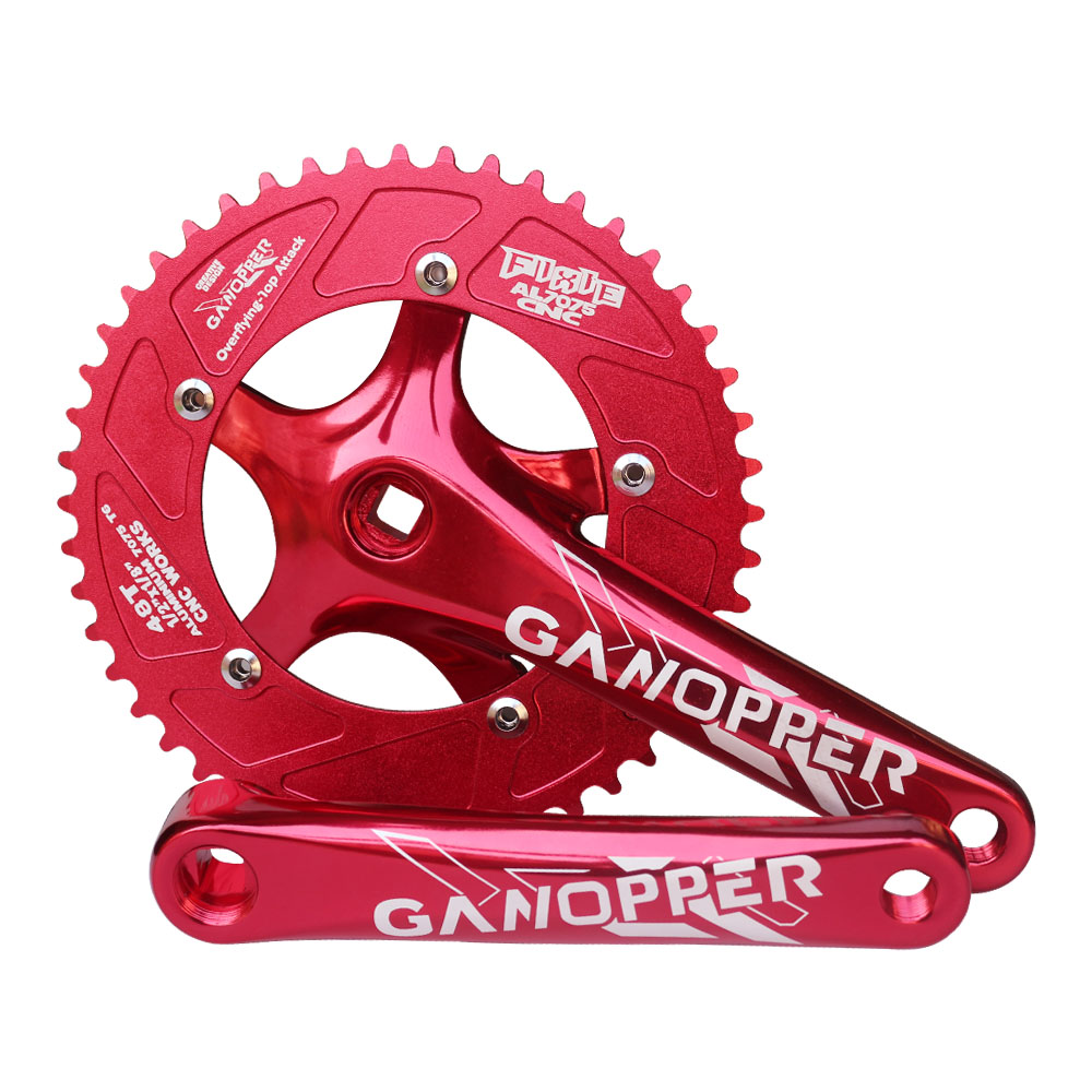 Red Fixed gear Single Speed Track Cranks Crankset 165mm 42t Silver