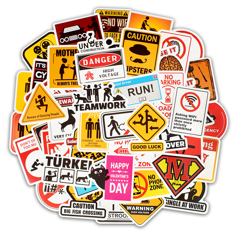 50pcs Warning Stickers Road Reminder Computer Sign Waterproof Decal Sticker Car Motorcycle Laptop Luggage Bicycle Snowboard F5