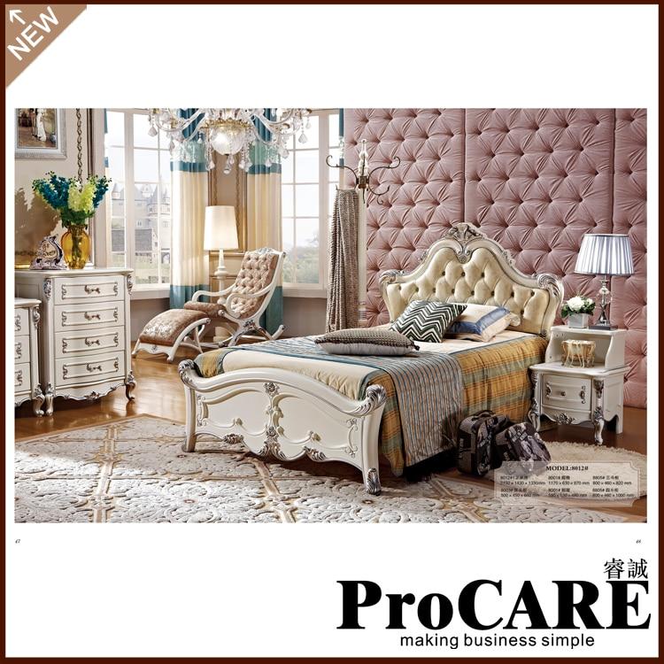 korean bedroom furniture king size leather bed with bedside table dresser