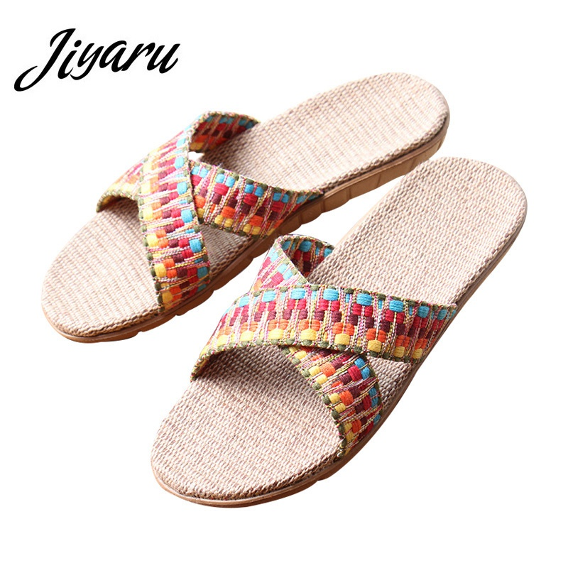 Flax Home Women Slippers Non-slip Slippers Indoor Floor Shoes Female Outside Beach Casual Slippers Summer Girls Leisure Flats