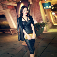 Tracksuits Direct Selling 2016 Autumn New Europe Sexy Bra Strap Package Hip Dress Quilted Leather Coat Suit Women Suits Female