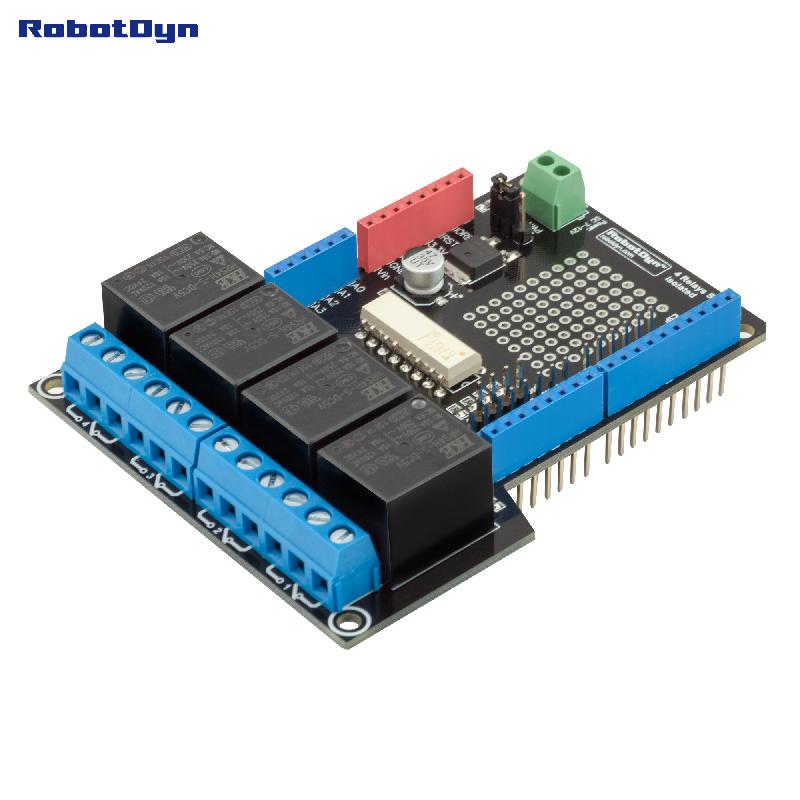 Relay shield for arduino uno relays assembled in el