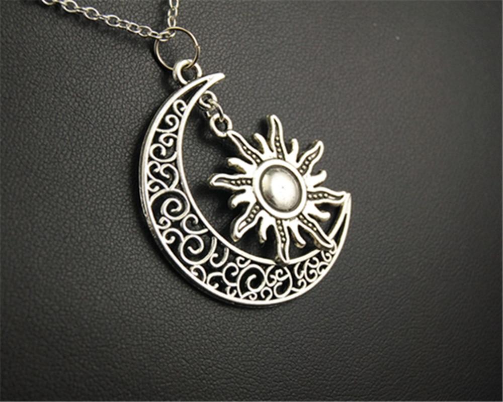 1pc Tibetan Silver Filigree SUN AND MOON Pendant Necklace DIY Handmade Jewellry