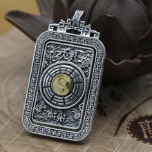 Nuevo colgante Vintage de plata 925 Fengshui Yinyang, colgante de plata Taichi Bagua, colgante de plata real de buena suerte