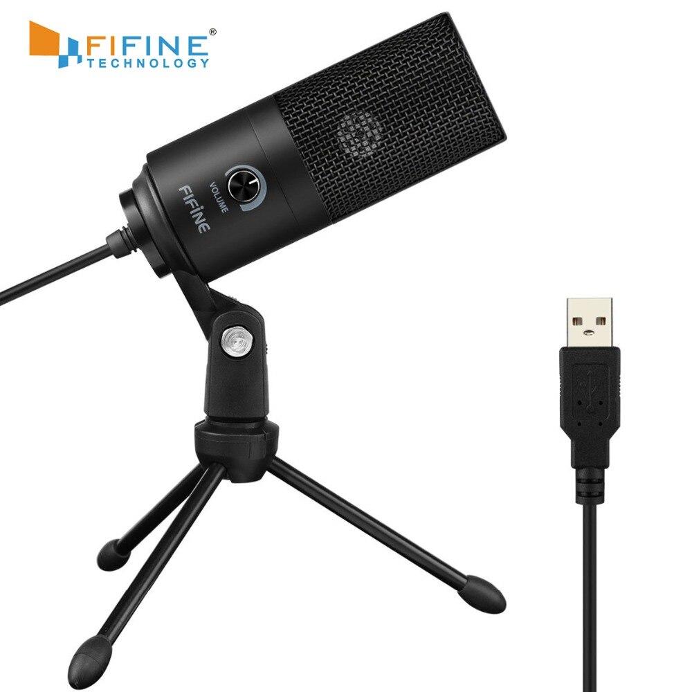 Fifine Métal USB Condenseur microphone d'enregistrement Pour Ordinateur Portable MAC Ou Windows Cardioïde Studio Enregistrement de Voix, La Voix Sur