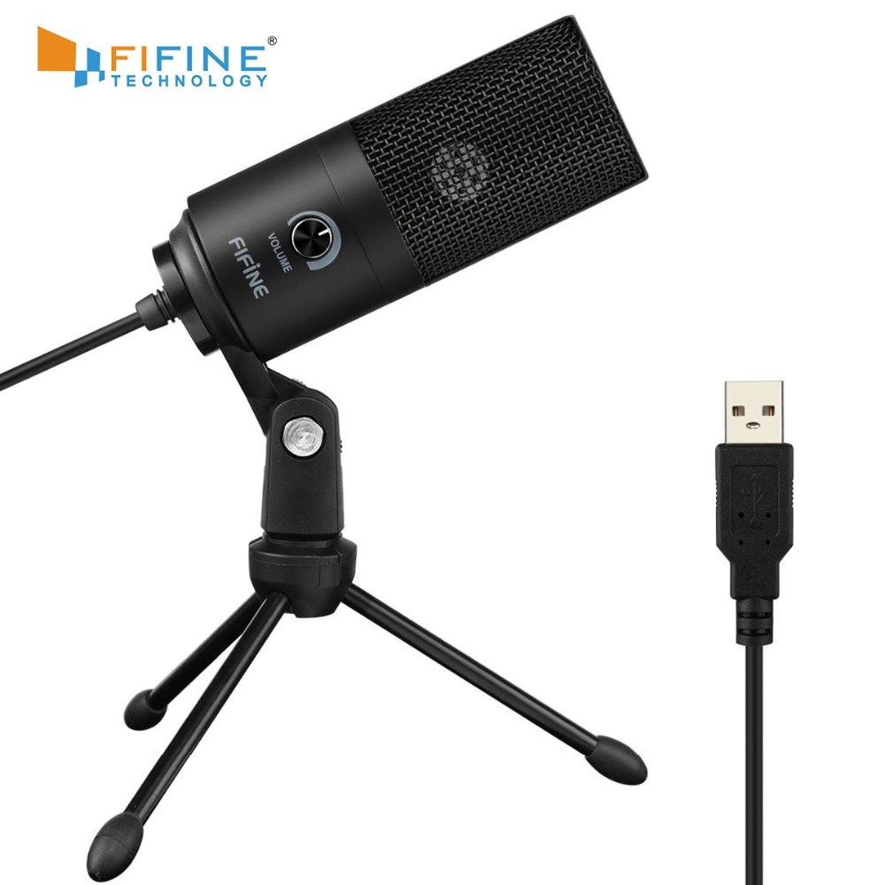 Fifine Metal USB Condenser Recording Microphone For Laptop MAC Or Windows Cardioid Studio Recording Vocals , Voice Over