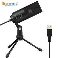 Microphone d'enregistrement à condensateur USB en métal Fifine pour ordinateur portable MAC ou Windows enregistrement de Studio cardioïde voix off, YouTube
