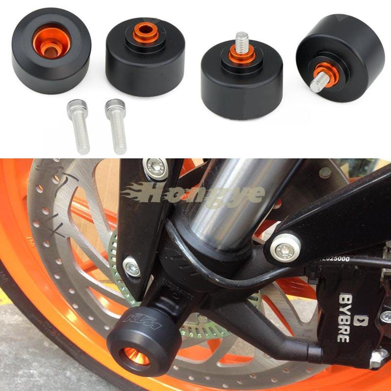 ФОТО New Arrived Motorcycle Front & Rear Fork Wheel Frame Slider Crash Pad Protector For KTM RC 125/200/390 2014 2015