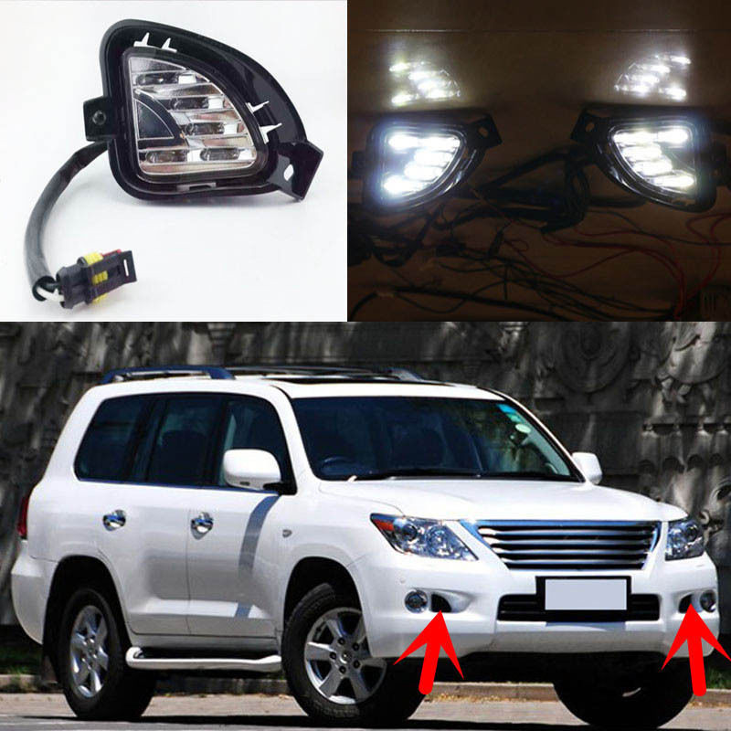 Waterproof Dimming Style Relay 12V LED Car Daytime Running Lights DRL Fog Lamp For Lexus LX570 2007 2008 2009 настенная полка бит и байт ас 14