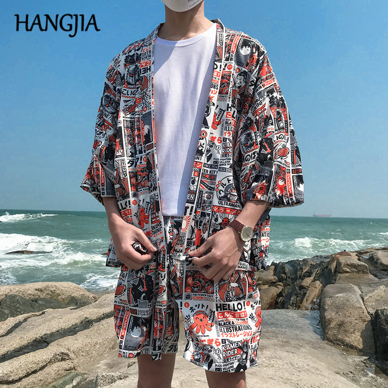 Japanese Kimono Printed Cardigan Jacket Trend Summer Mens Japan Style 3/4 Sleeve Casual Coats Top Male New Thin Outwear