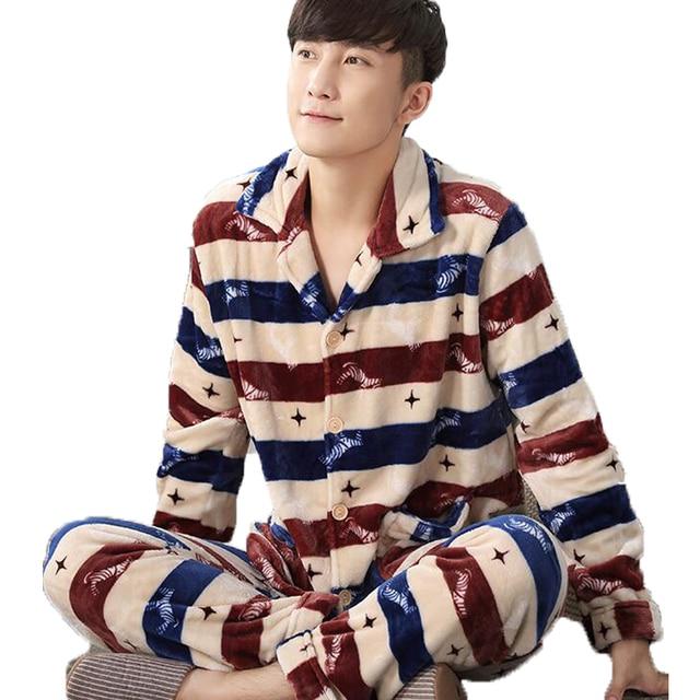 Winter Warm Flannel Pajamas For Men Trouser Sleepwear Set Plus Size XXXL Male Pyjamas Nightwear Sleep Gown Home Suit Loungewear